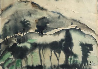 """""""Twilight in Mountains"""" watercolor on paper, 30X38,5cm. 1962 <br><a href=""""https://www.baiagallery.ge/en/contact/"""">Price Under Request</a>"""