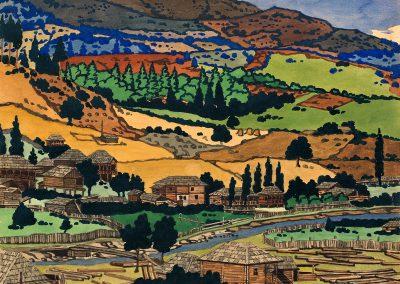 """""""Tsagveri – Borjomi Gorge"""" gouache on paper, 19,7X24cm. 1919"""
