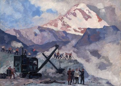"""Mining at Kazbeg"" oil on plywood, 70X49,5cm.  1949"