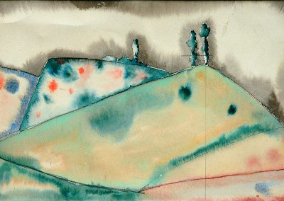 """Sketch for the play """"Ninoshvili's Guria"""" watercolor on paper, 15X24cm. 1934"""