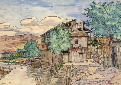 """From the series """"Tbilisi"""" watercolor, gouache, pencil on paper, 30X40cm. 1944"""