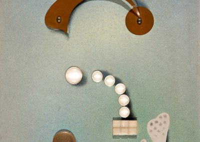 """""""Constructive - decorative composition"""" (Collage) <br> wood, tempera, metal and optical lenses, 64X49cm. 1924"""