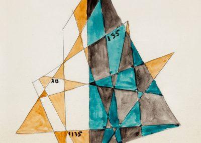 """""""Cubistic composition"""" watercolor on paper, 35X26cm. 1921"""