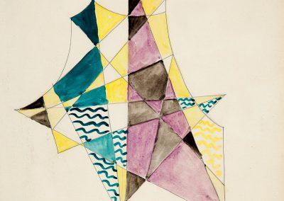 Cubistic composition watercolor on paper, 35X26cm. 1921