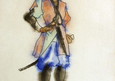 """Costume design """"Amirani"""" watercolor and Indian ink on paper, 27X22cm. 1927"""