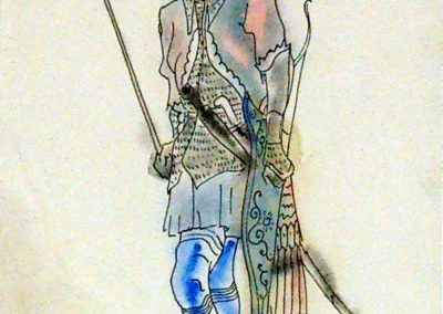 """Costume design """"Amirani"""" watercolor and Indian ink on paper, 26X21cm. 1927"""