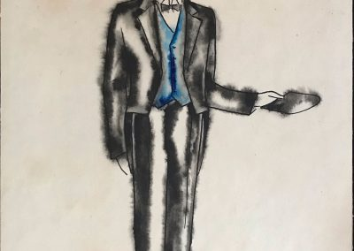 """Costume design """"Chef of the station""""<br>watercolor on paper, 25X17,5cm. 1947 <br><a href=""""https://www.baiagallery.ge/en/contact/"""">Price Under Request</a>"""