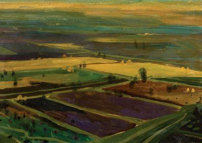 """""""Alazani vale"""" oil on cardboard, 34X48cm. 1961"""