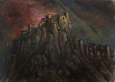 """Shatili"" pastel on cardboard, 43,5X61cm. 1962"