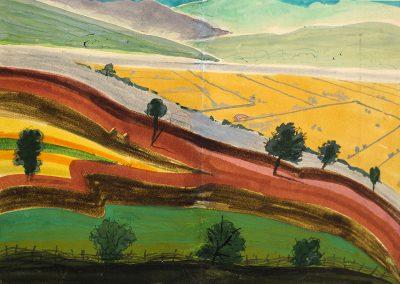 """""""Landscape"""" gouache on paper, 15,5X22cm. 1974"""