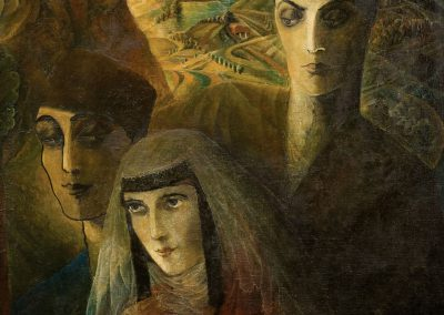 """""""Loving triangle"""" oil on canvas, 77X59cm. 1926 <br><a href=""""https://www.baiagallery.ge/en/contact/"""">Price Under Request</a>"""