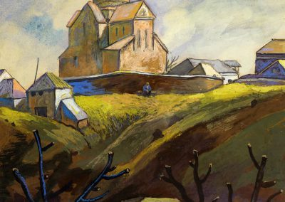 """""""Landscape with church"""" mixed media on paper, 38,5X28,5cm. 1972 <br><a href=""""https://www.baiagallery.ge/en/contact/"""">Price Under Request</a>"""