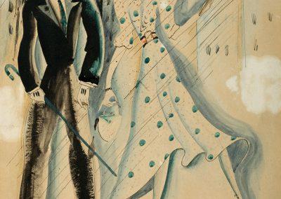 """Rain"" mixed media on paper, 32X21,6cm. 1933"