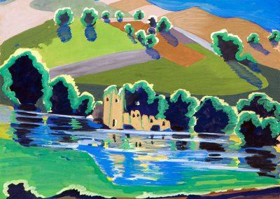 """""""Landscape"""" gouache on paper, 17,5X17,7cm. 1962"""