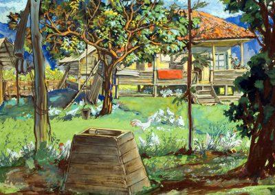 """Yard in Imereti"" gouache on paper, 28,5X33cm. 1959"