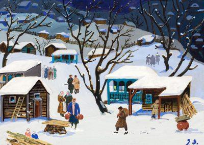 """Winter in village"" gouache on cardboard, 19,5X23cm. 1960s"