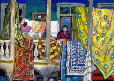 """""""A corner of Old Tbilisi on holiday"""" gouache on cardboard, 45x30cm. 1975"""