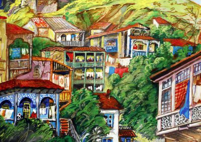 """""""A corner of Old Tbilisi"""" gouache on paper, 38X29cm. 1972"""