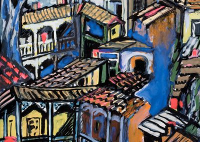 """""""Old Tbilisi"""" mixed media on paper, 18X12,3cm. 1970s"""