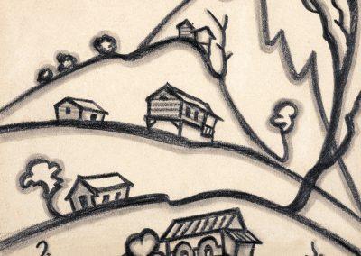 """""""Village"""" pencil on paper, 15X19cm. 1970s"""