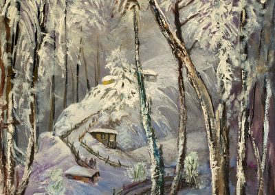 """Bakuriani. Winter"" oil on canvas, 95,5X65cm. 1970s"