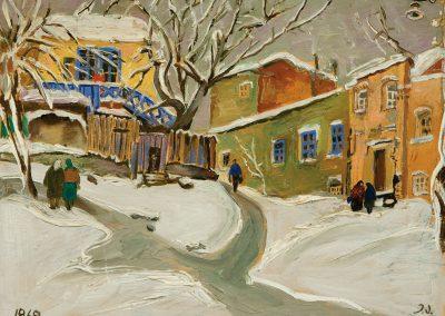 """Winter in Tbilisi"" oil, mixed media on cardboard, 38X46cm. 1969"