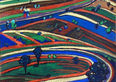 """""""Fields"""" gouache on paper, 18,5X17,5cm. 1962"""