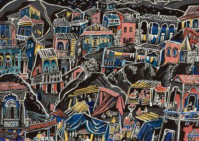 """Old Tbilisi"" gouache on paper, 30X35,5cm. 1962"