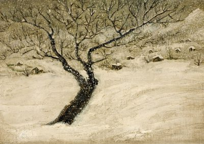 """Winter"" oil on cardboard, 19,5X28,5cm. 1921"