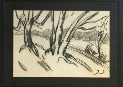 """Landscape"" coal on paper, 29X43,3cm.<br><a href=""https://www.baiagallery.ge/en/contact/"">Price Under Request</a>"