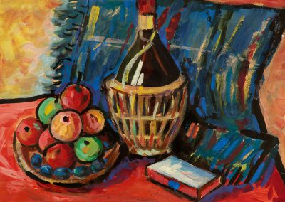 """""""Apples and wine"""" tempera on paper, 42,3X61cm. 1960s <br><a href=""""https://www.baiagallery.ge/en/contact/"""">Price Under Request</a>"""