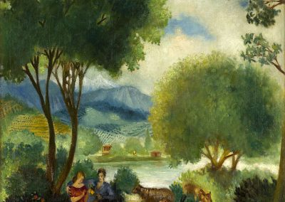 """""""Rural idyll"""" oil on canvas, 70,5X69,7cm. 1934 <br><a href=""""https://www.baiagallery.ge/en/contact/"""">Price Under Request</a>"""