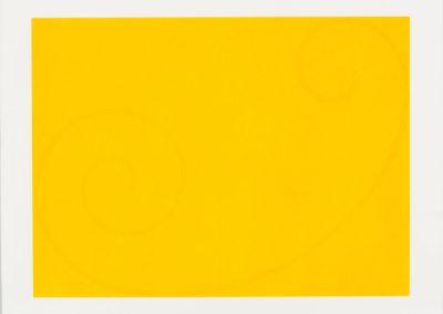 Robert Mangold 'Yellow Curled Figure'. Original color serigraph, 56.5×76.2 cm. 2002. Edition 24/108.  Price: 3000$