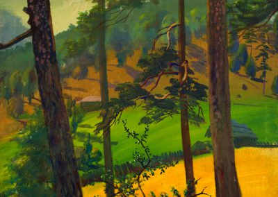 """'Four Pines. Tsikhisjvari' tempera on canvas, 92X65cm. 1957 <br><a href=""""https://www.baiagallery.ge/en/contact/"""">Price Under Request</a>"""
