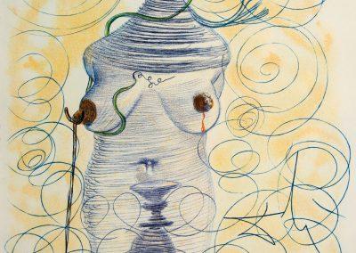 Salvador Dali 'Large Flask. Casanova'. Heliogravure, 37.2×28cm. 1967 <br> Price: 1750$