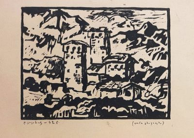 "'Svaneti' linocut, 21X27cm. 1942 <br><a href=""https://www.baiagallery.ge/en/contact/"">Price Under Request</a>"
